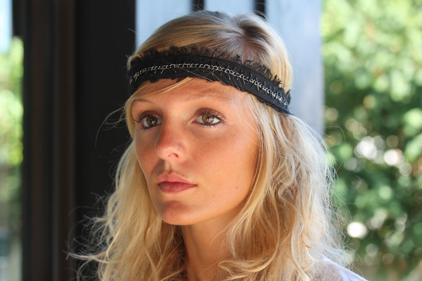 Maison Michel / Electra Gm-Head band Tulle et chaines