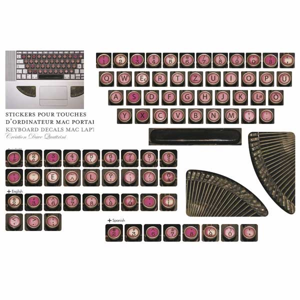 Les Invasions Ephémères / Stickers machine à écrire pour clavier d'ordinateur