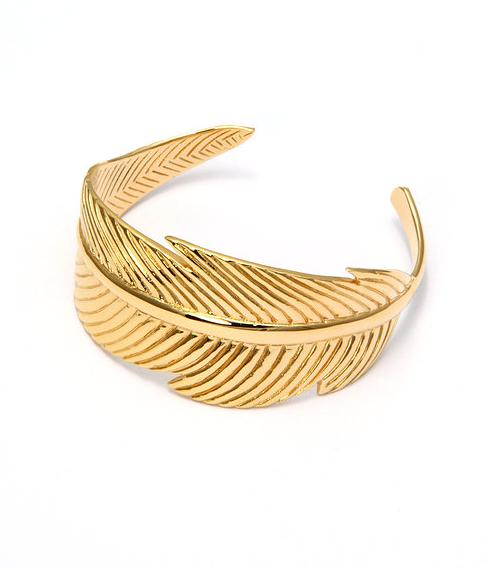 Luj / Manchette plume grand modèle doré