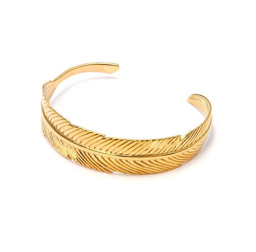 Luj / Manchette plume petit modèle doré