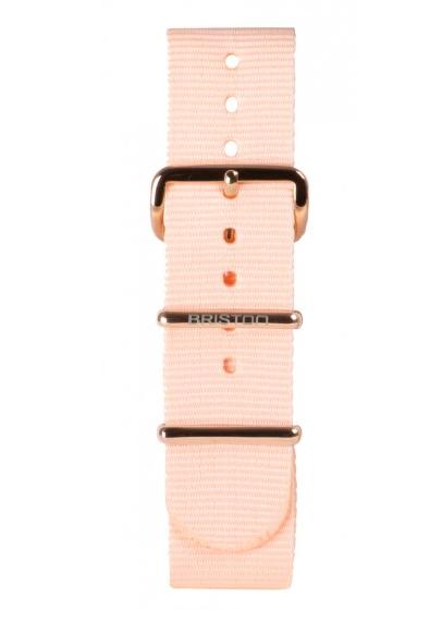 Briston / Bracelet spécial NATO rose poudré, boucle en acier or rose 245 mm
