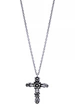 Feidt Collier Croix Fleurie 15 mm or blanc  9 carats