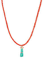 Pascale Monvoisin Collier Get Lucky corail et turquoise