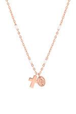 Gigi Clozeau Collier or rose , perles de résine, croix et madone.