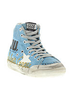 Golden Goose Sneaker Francy light blue canvas gold glitter memory