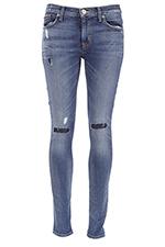 Hudson Jean Nico midrise super skinny bleu empiècement genoux