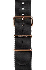 Briston Bracelet type NATO noir, boucle or rose 230mm - Clubmaster Chic