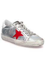 Golden Goose Sneakers Superstar asymétrique, argent et étoile rouge et bleu