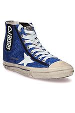Golden Goose Sneakers V-Star 1, paillettes bleues et étoile blanche