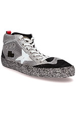 Golden Goose Sneakers Mid Star maille argent
