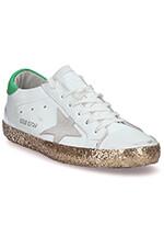 Golden Goose Sneakers Superstar, blanche et vert avec semelle à paillettes