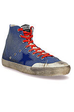 Golden Goose Sneakers Francy toile bleu lacets rouges