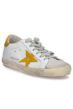 Golden Goose Sneakers Superstar, étoile et patch moutarde