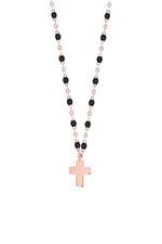 Gigi Clozeau Collier or rose perles de résine et pendentif croix or rose