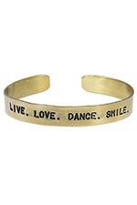 Atelier 7|12 Jonc en laiton gravé Live. Love. Dance. Smile.