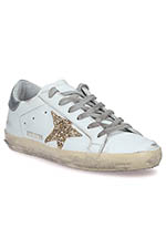 Golden Goose Sneakers patch argent étoile paillettes or
