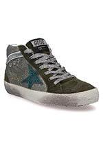 Golden Goose Sneakers Mid Star green glitter