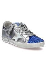 Golden Goose Sneakers Superstar, métallisé et bleu pailleté