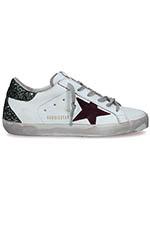 Golden Goose Sneakers Superstar green glitter heel