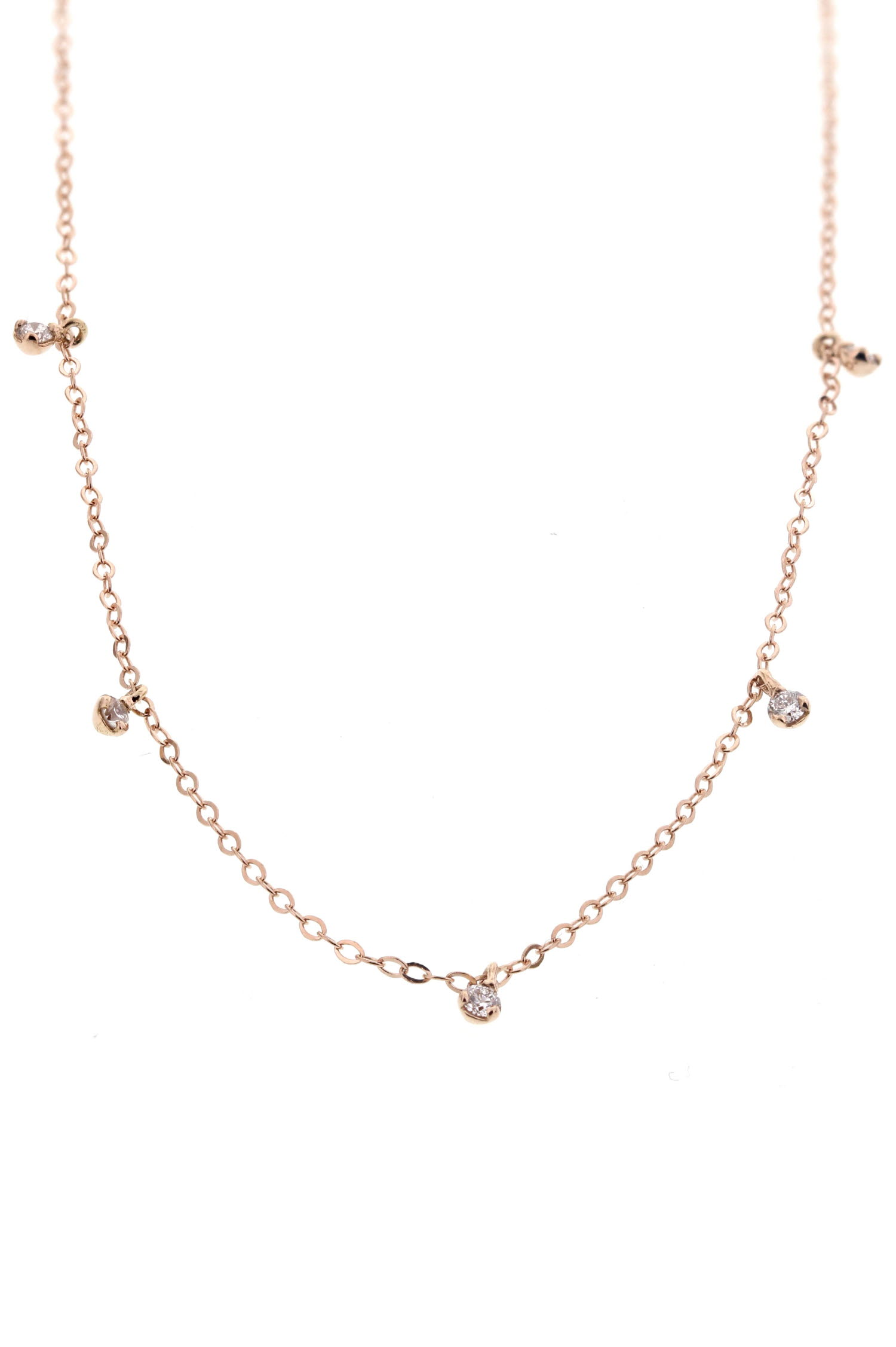 Fabuleux Collier or rose et 5 diamants 42 cm Gigi Clozeau QP03