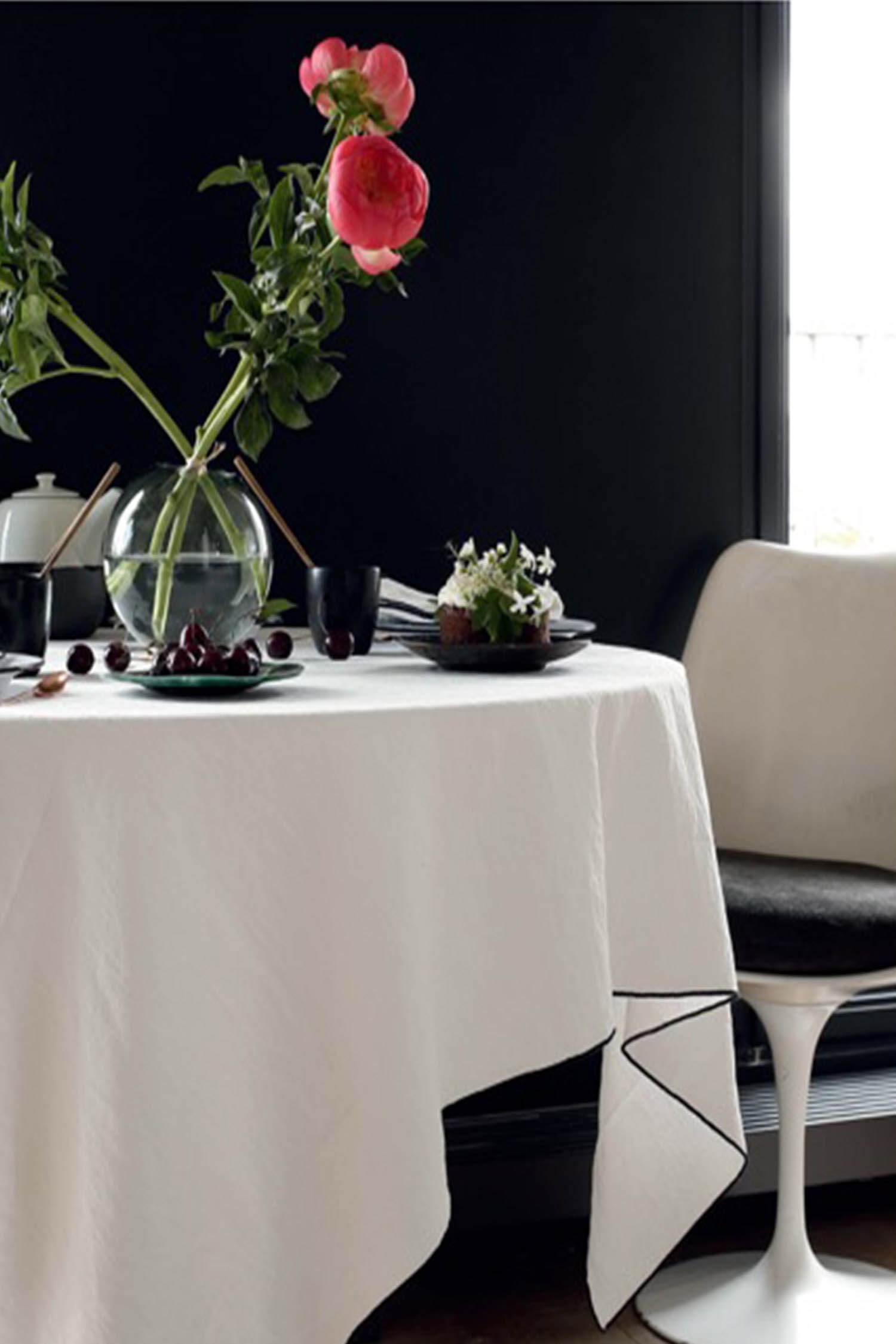 Nappe en lin et coton 170 x 350 cm blanche maison de vacances - Maison de vacances linge ...