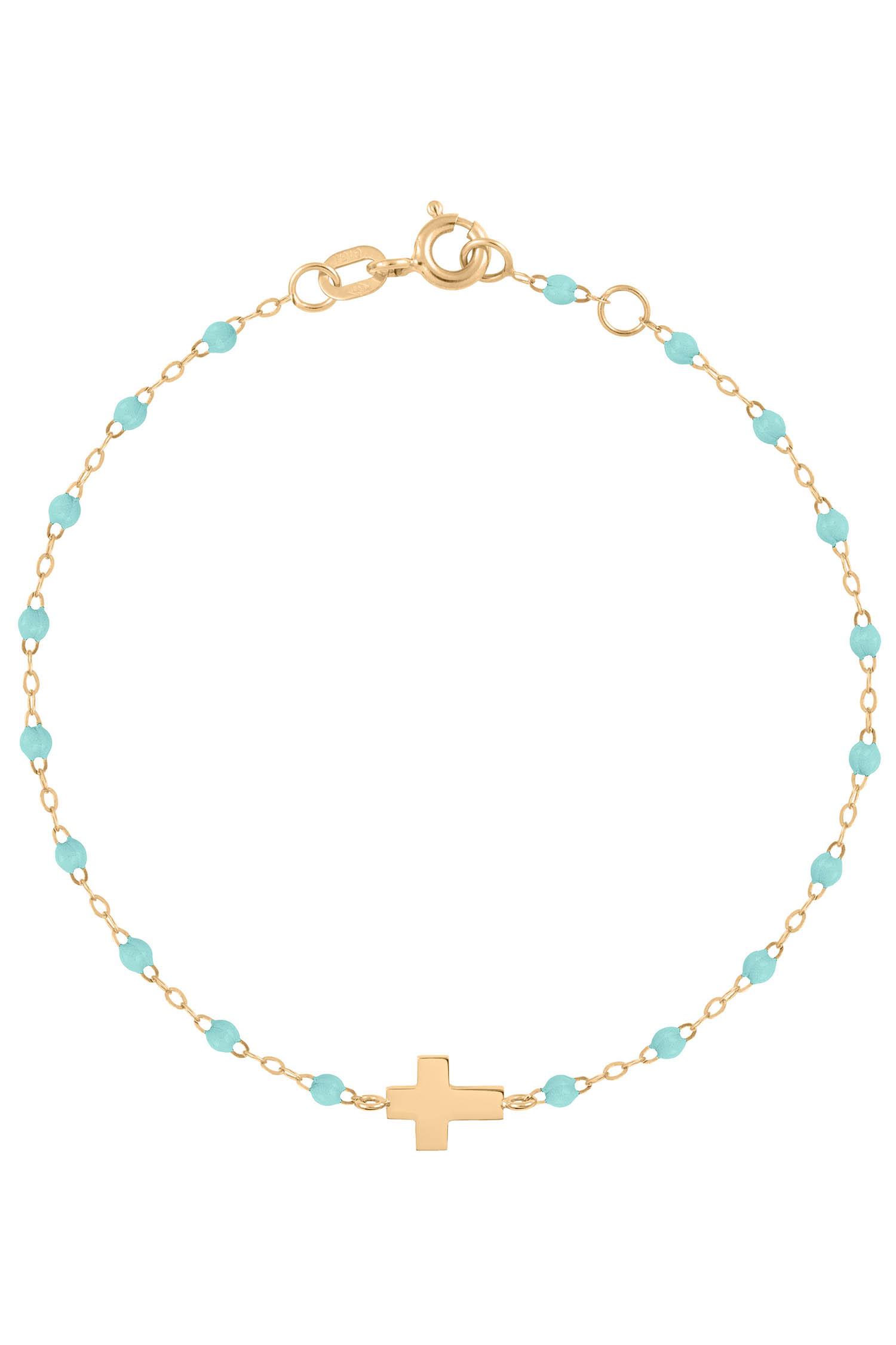 1949a556464c0 Gigi Clozeau / Bracelet or jaune, perles de résine et croix. Appuyez pour  zoomer