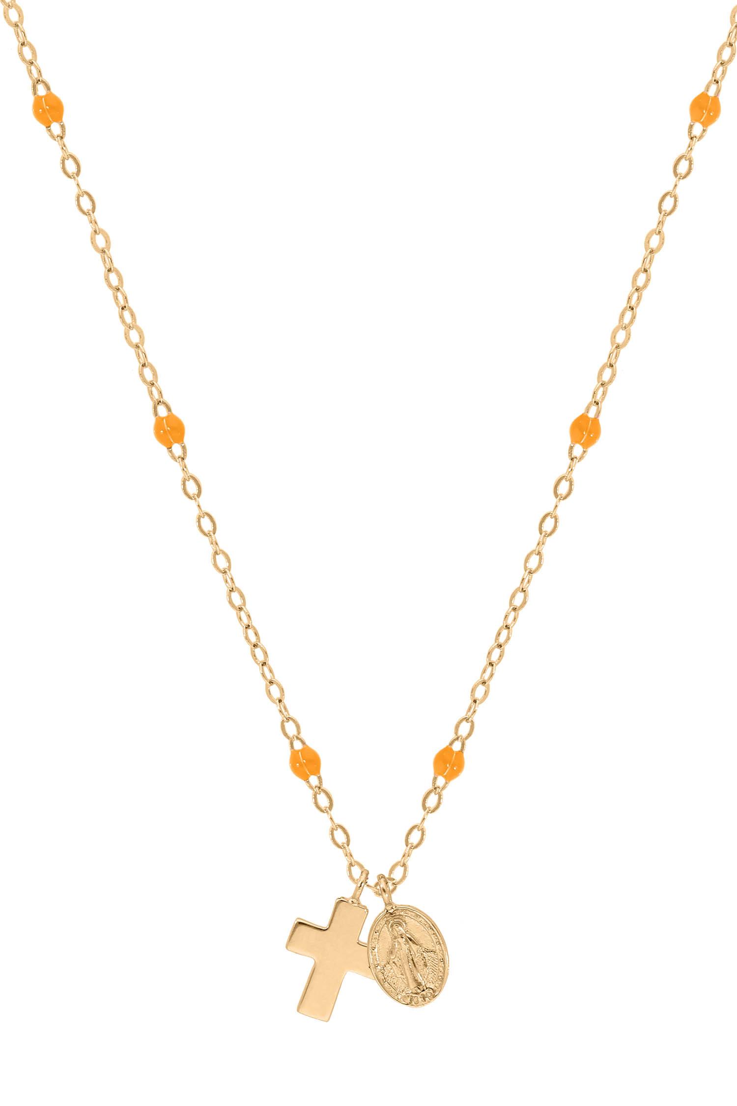b14cc25d44bf1 Collier en or jaune, perles de résine, croix et madone Gigi Clozeau