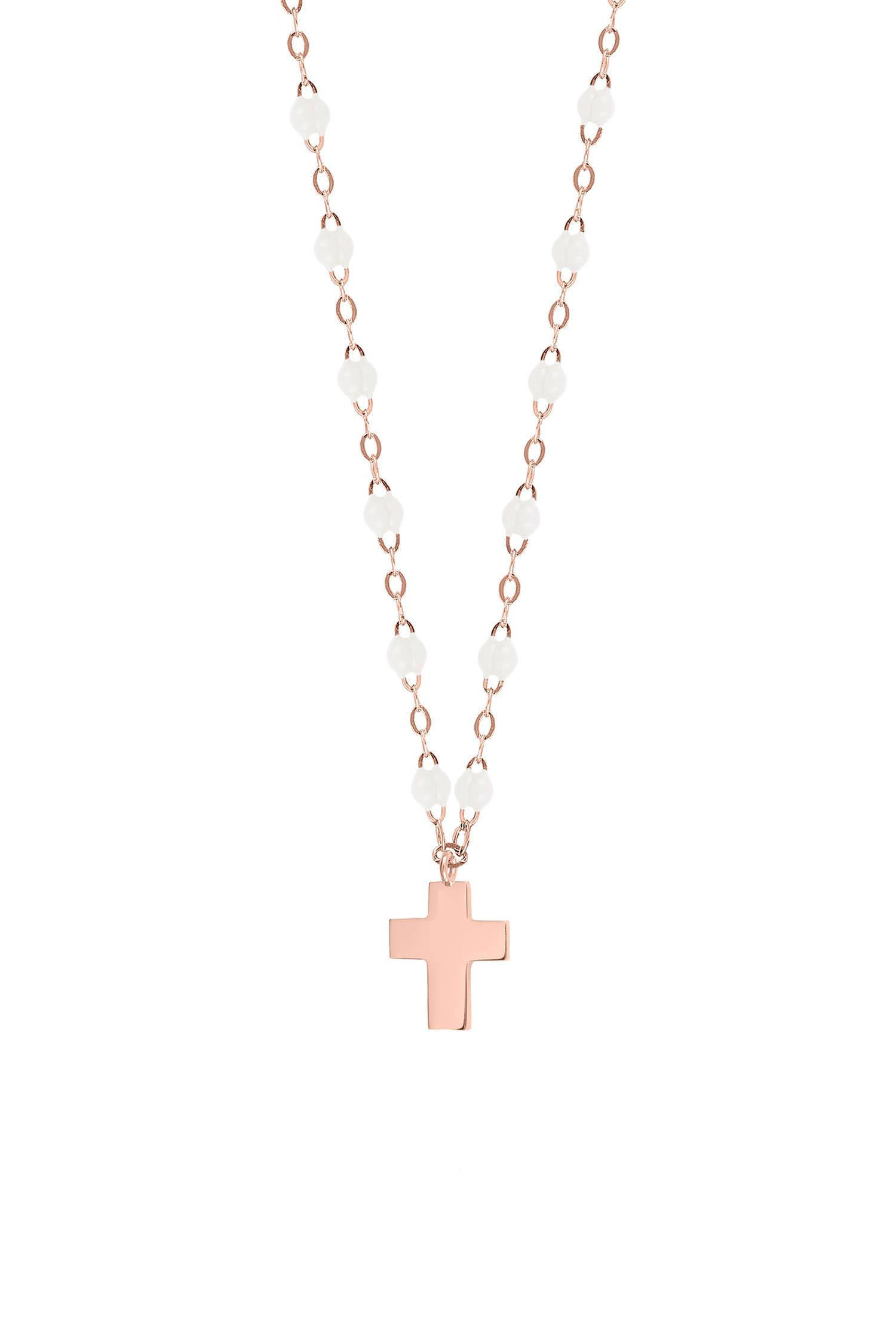 35a9a7c2f0515 ... Gigi Clozeau / Collier or rose perles de résine et pendentif croix or  rose ...