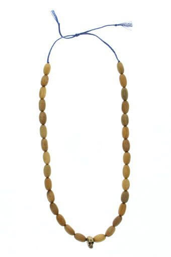 Mathias Chaize / Collier perles bois tête de mort bronze