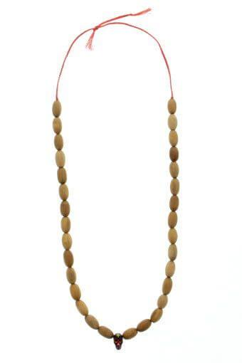 Mathias Chaize / Collier perles en bois tête de mort peinte