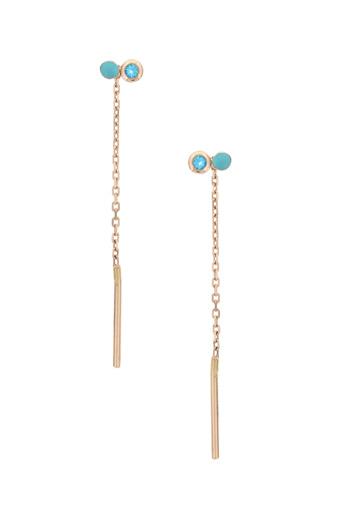 Gigi Clozeau / Boucles d'oreilles dot en or rose et perles résine et pierres fines