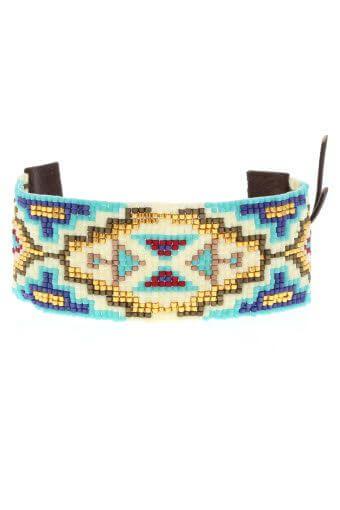 Chan Luu / Bracelet large perles et cuir
