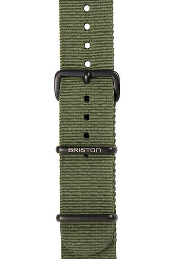 Briston / Bracelet spécial Nato vert militaire PVD noir mat