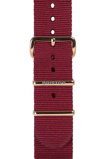 Briston / Bracelet spécial NATO bordeaux, boucle or rose 245mm