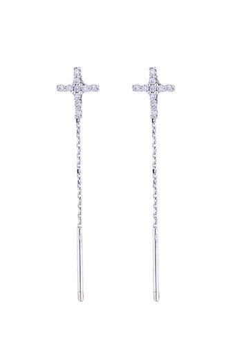 Gigi Clozeau / Boucles d'oreilles or gris et croix diamants