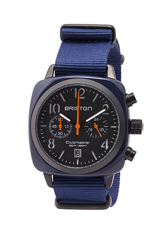 Briston / Montre Clubmaster Chrono bleu militaire