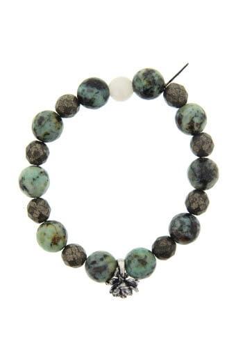 Catherine Michiels / Bracelet Turquoise et pivoine argent