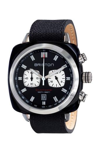 Briston / Clubmaster Sport Acétate Chronographe noir avec cadran noir
