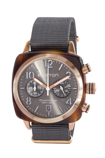 Briston / Clubmaster Chronographe Gold avec cadran gris soleillé