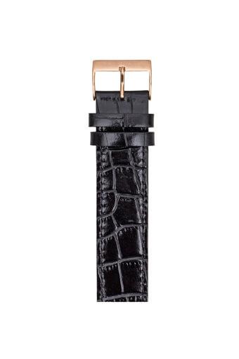 Briston / Bracelet Luxury en cuir - alligator noir boucle or rose