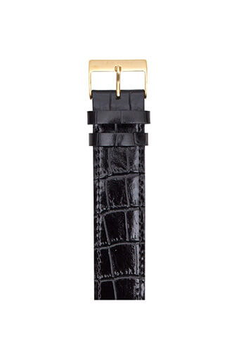 Briston / Bracelet Luxury en cuir - alligator noir boucle or jaune