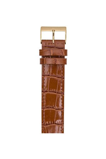 Briston / Bracelet Luxury en cuir - alligator marron boucle or jaune