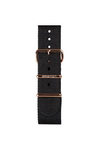 Briston / Bracelet type NATO - Noir et PVD or rose