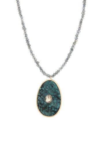 Pascale Monvoisin / Sautoir Simone turquoise et diamant