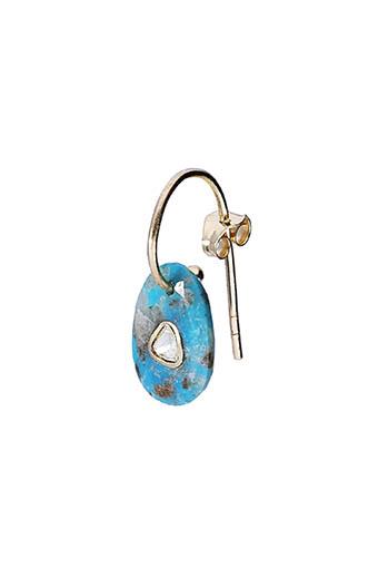 Pascale Monvoisin / Boucle d'oreille solo Orso turquoise