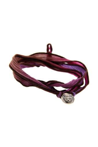 Catherine Michiels / Bracelet Lucky Cat en argent  sur soie lie de vin