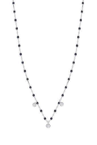 Gigi Clozeau / Collier en or gris, perles de résine et 3 diamants