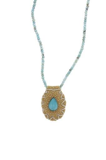 Jacquie Aiche / Collier larimar raie et turquoise