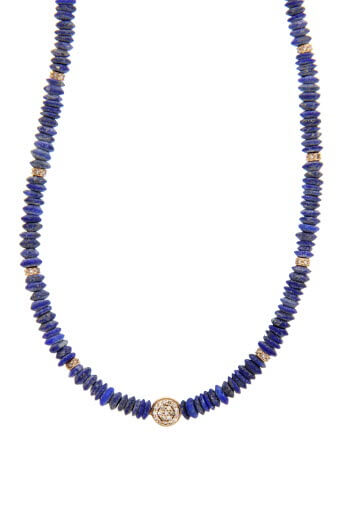 Jacquie Aiche / Collier or rose lapis et diamant