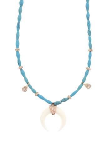 Jacquie Aiche / Coller or rose turquoise, corne et diamant